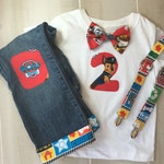 Paw Patrol Baby Boy 2nd Birthday Shirt Short sleeve with Bow Tie, Suspenders, Number, second & jeans Birthday Chase shirt Birthday Rider