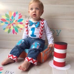 Dr. Seuss  Baby Boy 1st first cat in the hat Birthday Shirt which includes Bow Tie, Real Suspenders, Number & Knee patch, cuffed Jean Pants