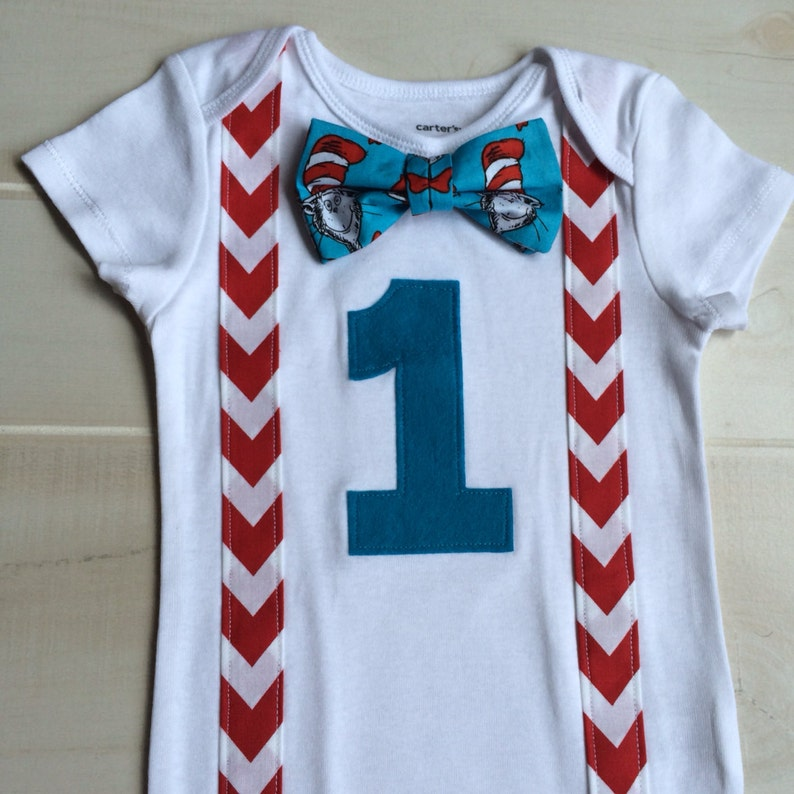 Cat In The Hat Baby Boy 1st Birthday Onesie With Dr Seuss Bow