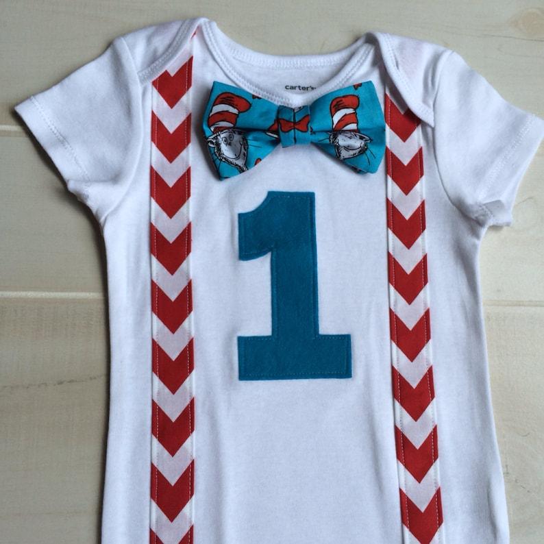 Cat In The Hat Baby Boy 1st Birthday Onesie With Dr Seuss Bow Tie Suspenders