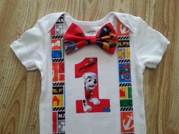 031ca392b Paw Patrol Baby Boy first Birthday onesie Short sleeve with | Etsy
