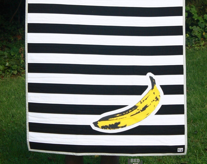 Pop Art Banana Black and White Stripe Quilt | Pop Art Baby Quilt | Pop Art Toddler Quilt | Banana Lap Quilt