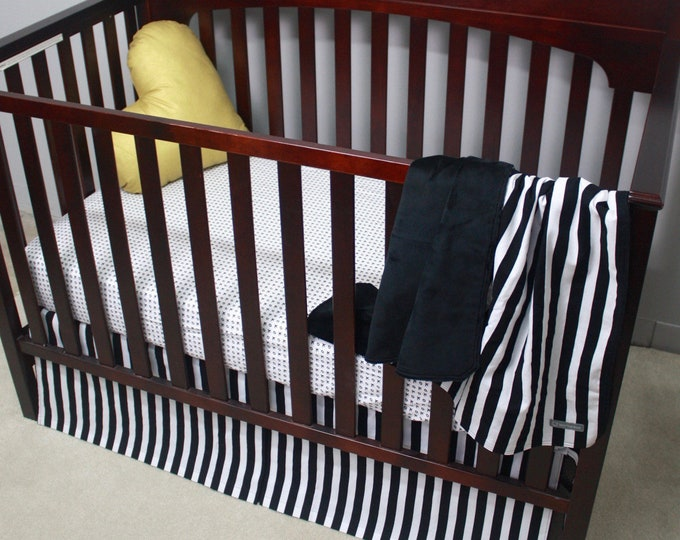 Black and White Stripe Baby Bedding | Gender Neutral Crib Bedding | X's and O's Love Baby Bedding | 3 piece set