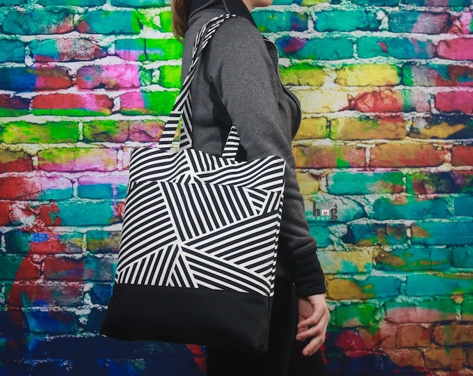 Black and White Stripe Canvas and Wax Tote | Everyday Bag | Tote Bag
