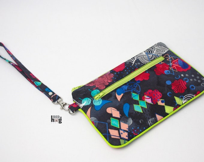 Abstract Ocean Nina Wristlet with Lime Green | Wallet | Clutch | Bag