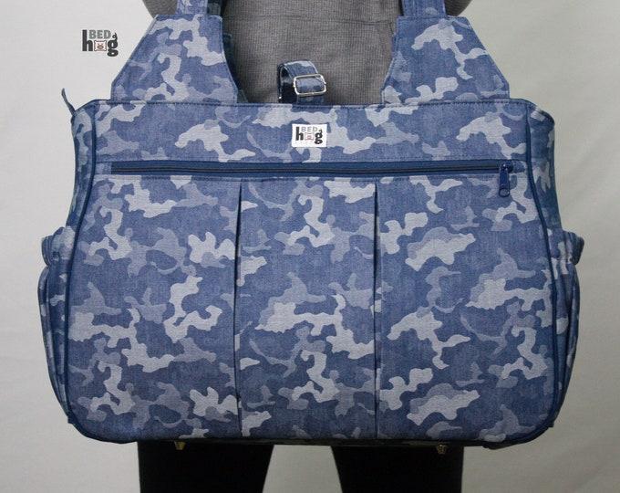 Camo Denim Jacquard Foxglove Bag | Gym Bag | Diaper Bag | Overnight Bag