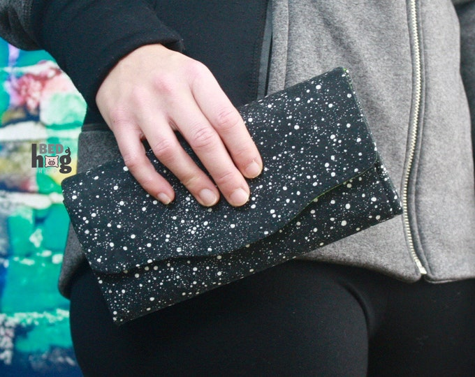 Black and White Splatter with Lime Green Batik Necessary Clutch Wallet
