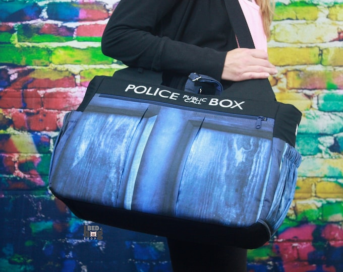 Flying Blue Police Box Foxglove Bag | Gym Bag | Diaper Bag