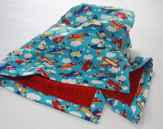 Airplane Baby Blanket--Red, Yellow, Blue, & Aqua