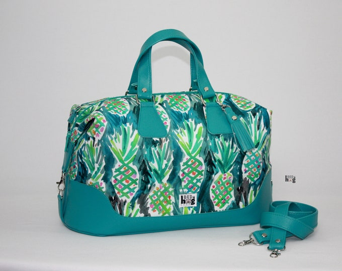 Pineapples Brooklyn Traveler Bag with removable shoulder strap