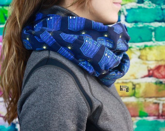 Doctor Who Tardis Cotton Knit Infinity Scarf
