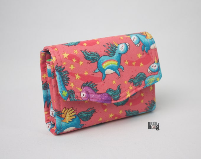 Unicorn Mini Necessary Clutch Wallet with credit card slots and zipper pocket