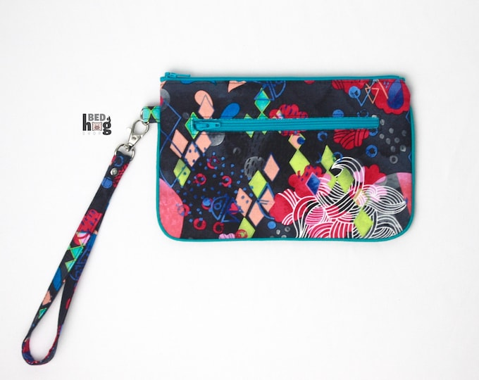 Abstract Ocean Nina Wristlet with Turquoise/Teal | Wallet | Clutch | Bag