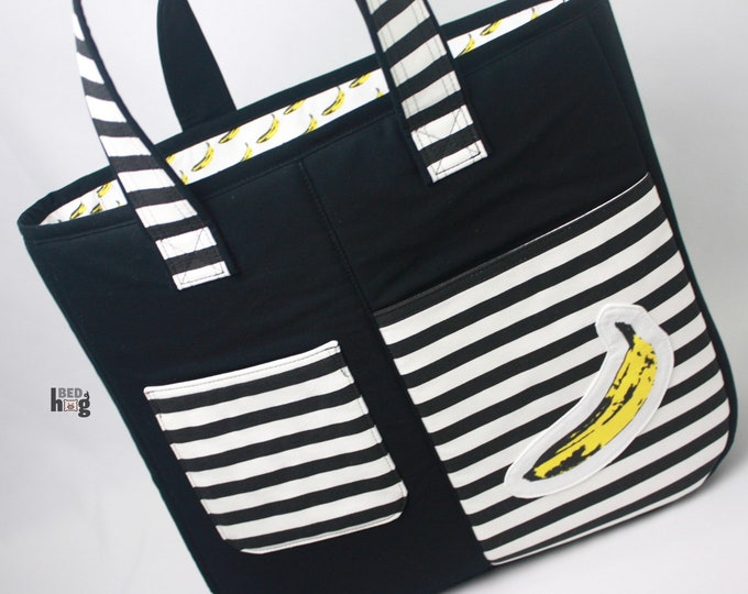 Pop Art Banana Striped Fika Tote | Work Tote | Beach Bag | Art Tote