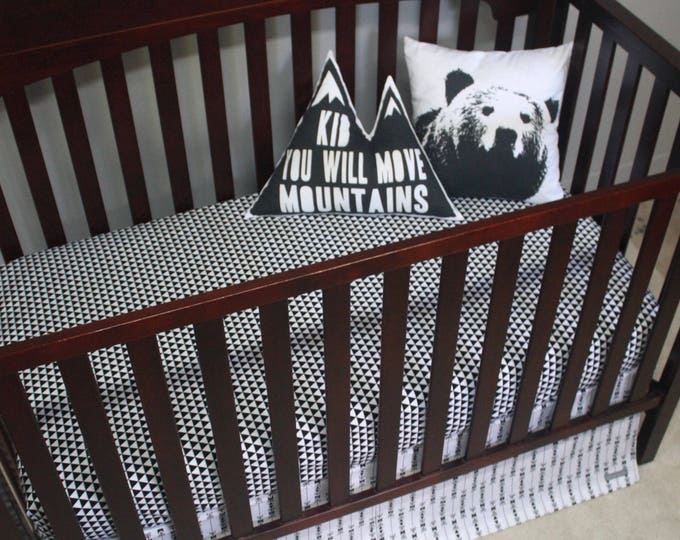 Black and White Woodland Baby Bedding--Gender Neutral Crib Bedding