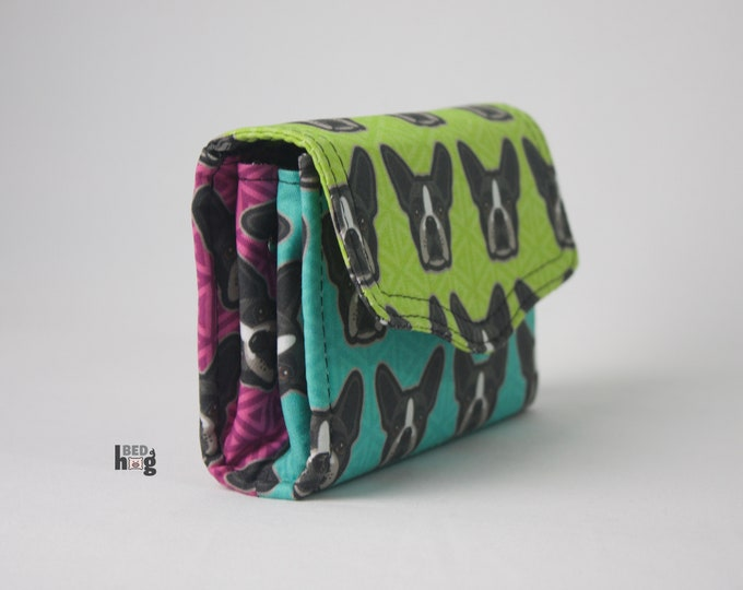 Boston Terrier Mini Necessary Clutch Wallet with credit card slots and zipper pocket