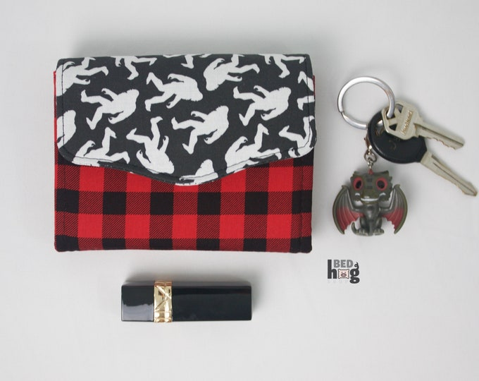 Bigfoot Buffalo Check Mini Necessary Clutch Wallet with credit card slots and zipper pocket