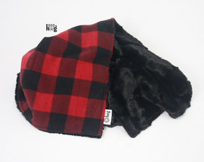 Red and Black Buffalo Check Fleece and Minky Baby Blanket