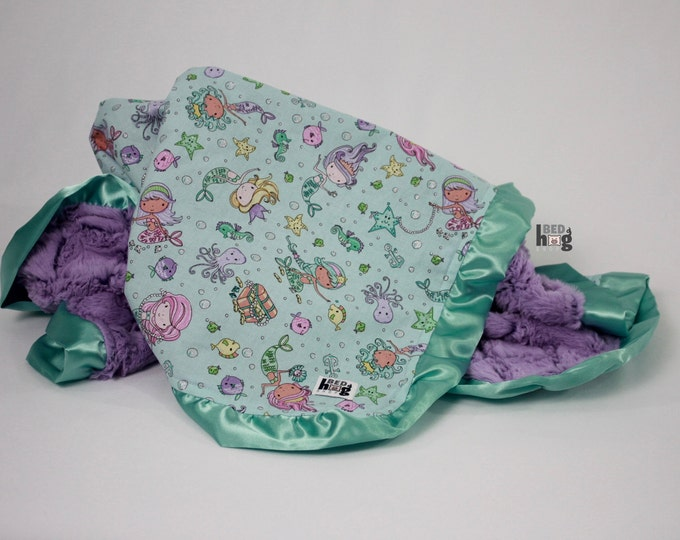 Mermaid Cotton and Minky Ruffle Baby Blanket