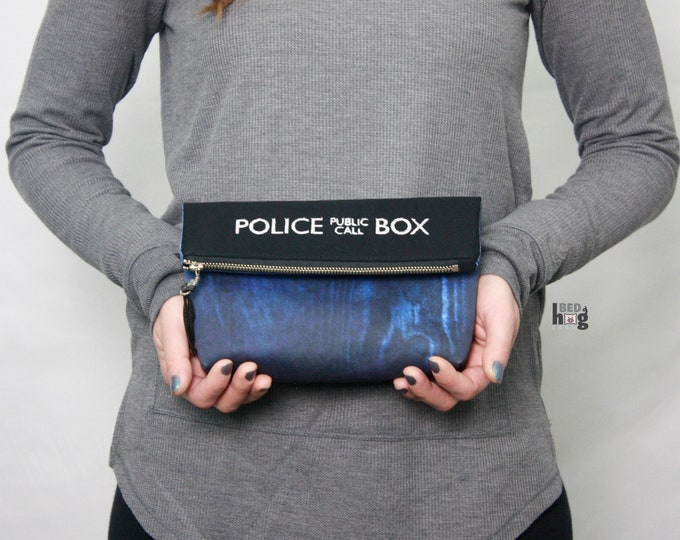 Flying Blue Police Box Amber Clutch | Foldover Pouch | Foldover Clutch