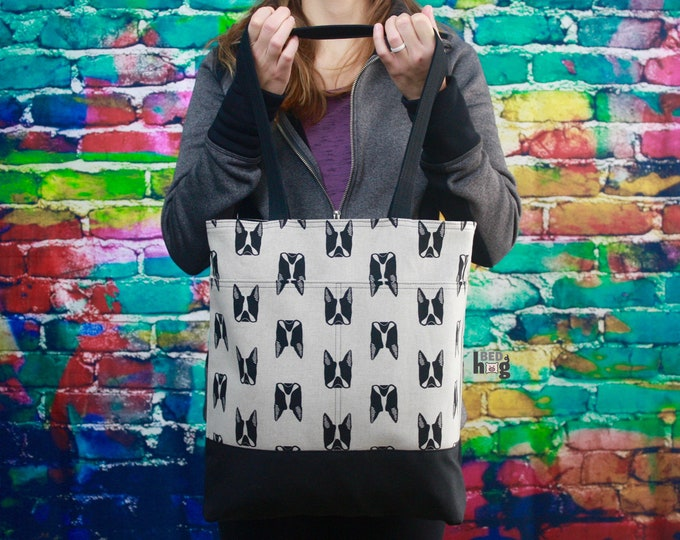 Boston Terrier Linen and Wax Tote | Everyday Bag | Tote Bag