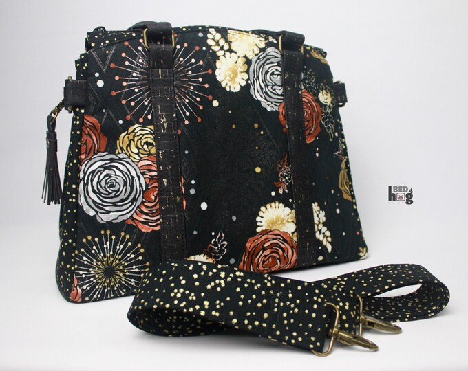 Precious Metals and Gold Flecked Black Cork Snowdrop Satchel with Crossbody Strap