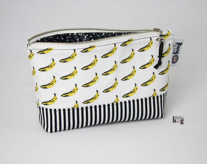 Pop Art Banana and Stripes Medium Essential Pouch