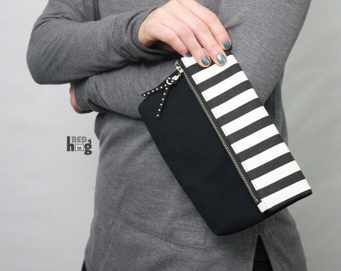 Black and White Amber Clutch | Foldover Pouch | Foldover Clutch