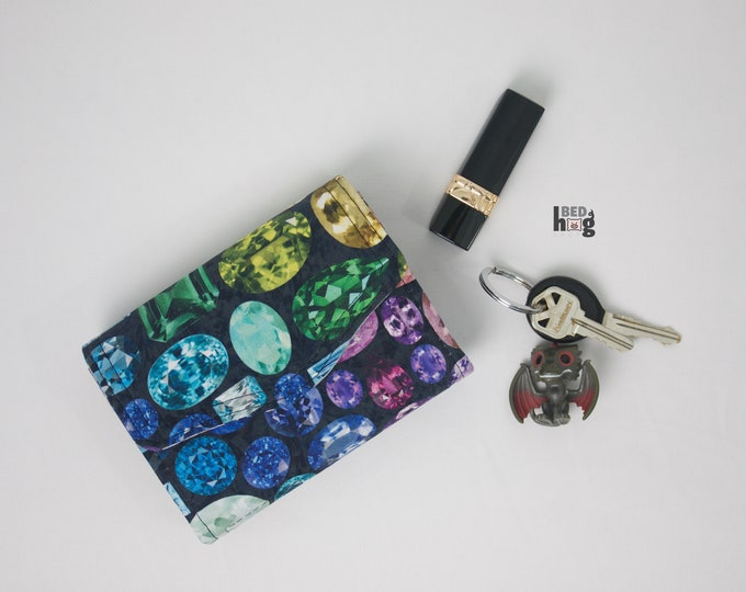 Rainbow Jewels Mini Necessary Clutch Wallet with credit card slots and zipper pocket