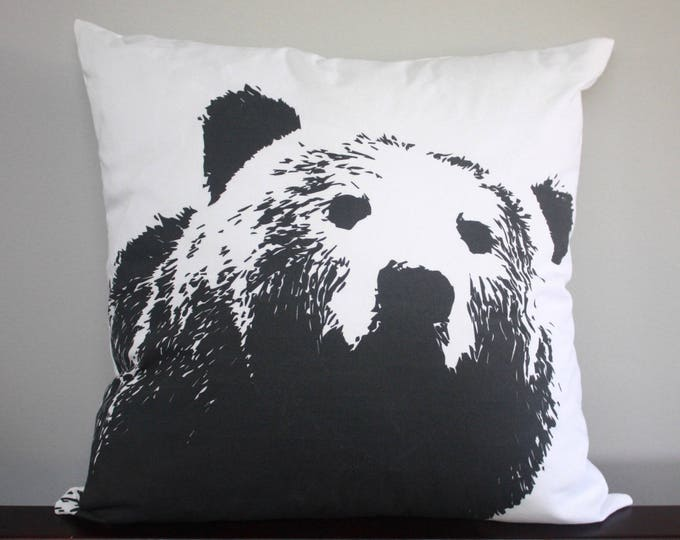 Bear pillow--Modern Black and White pillow--Bear nursery pillow