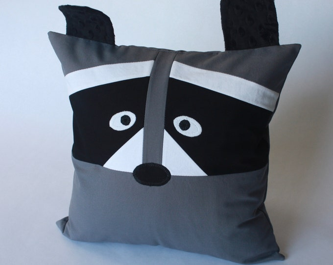Raccoon Patchwork Pillow, Raccoon Pillow, Raccoon Baby Pillow-MTO