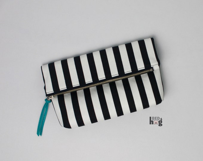 Black and White Stripe Amber Clutch | Foldover Clutch | Foldover Pouch