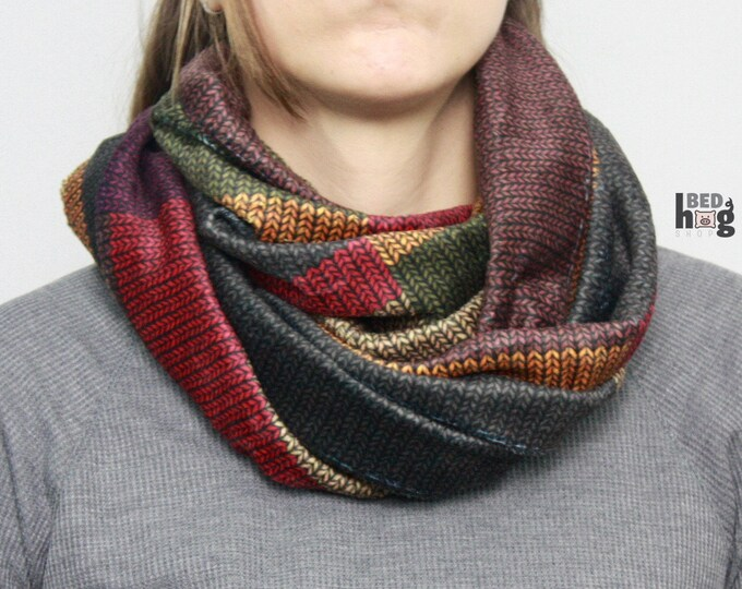 Doctor, who knit this almost four yards long scarf? Minky Infinite Infinity Scarf