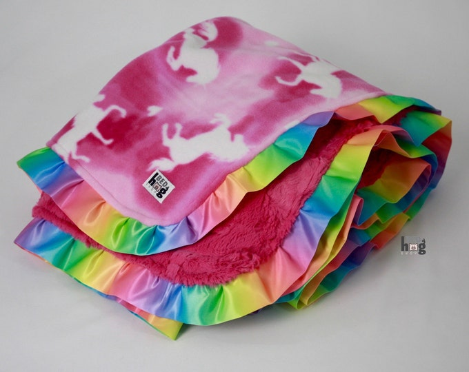 Unicorns and Rainbows Ruffle Blanket | Unicorn  Ruffle Toddler Blanket | Unicorn and Rainbow Throw Blanket