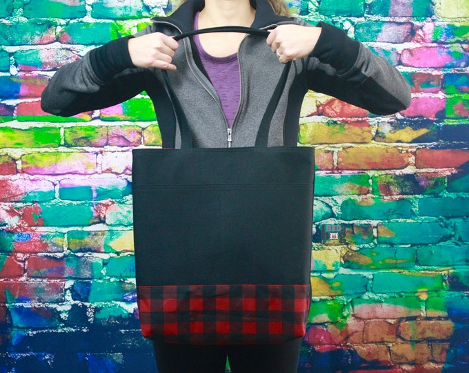 Black Canvas and Buffalo Check Wax Tote | Everyday Bag | Tote Bag