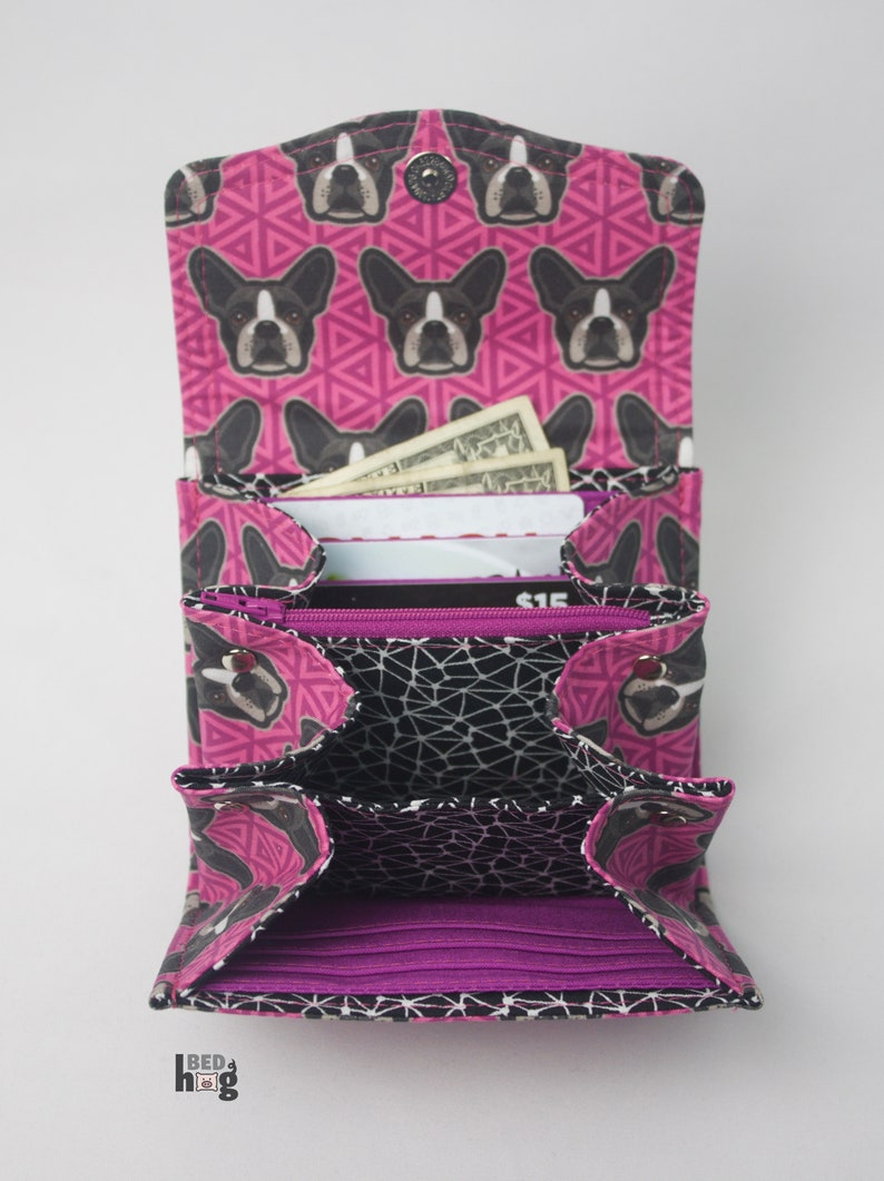 Pink Boston Terrier Mini Necessary Clutch Wallet with credit card slots and zipper pocket