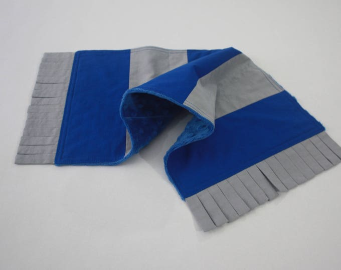 Scarf burp cloth--Blue and Silver--Wizard Boy security blanket