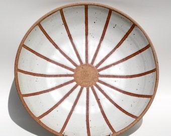 Matte white ceramic platter, shallow bowl with graphic design