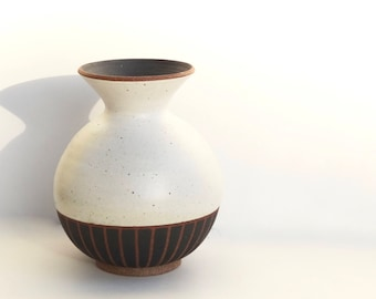 """Large hand made ceramic white and black striped """"Edith"""" vase"""