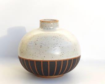 "Rotund hand made ceramic white and black striped ""Edith"" vase"