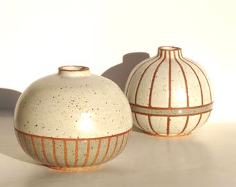 """Hand made ceramic white and gray striped """"Storm"""" vases"""