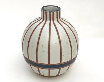 "Oval hand made ceramic white and dark blue striped ""Edith"" vase"