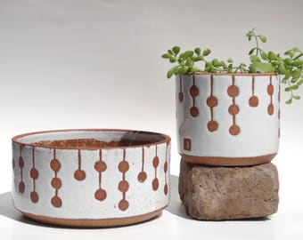 Rain chain handmade white ceramic planter with exposed clay dots MADE TO ORDER