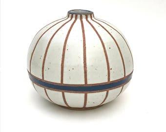 "Rotund hand made ceramic white and dark blue striped ""Edith"" vase"