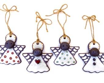 Handmade ceramic angel Christmas ornaments