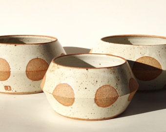 Handmade white ceramic planters with large exposed clay dots MADE TO ORDER