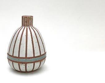 """Small hand made ceramic white and blue striped """"Skye"""" vase"""