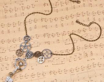 """Steampunk Key Gear Necklace-18"""""""