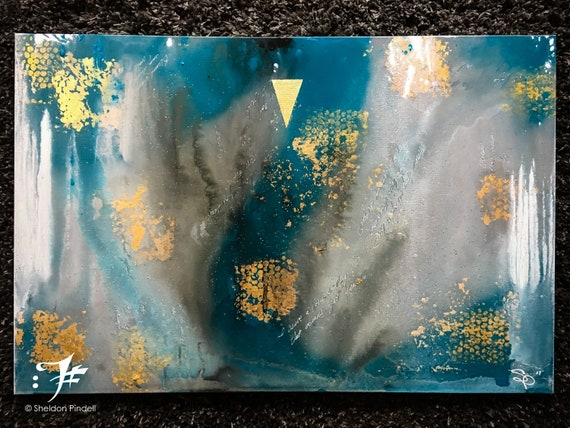Blue Green And Gold Abstract Art Acrylic Fine Art Gold Leaf Art Glitter Painting Beehive Pattern Drip Paint Gallery Art Housewarming