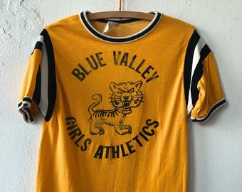 Vintage 60's Empire Rayon Cotton Blue Valley Girls Athletic Tiger Tee